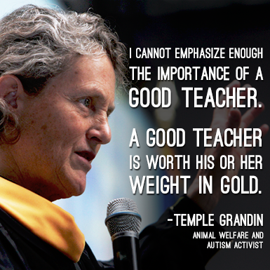 I cannot emphasize enough the importance of a good teacher. A good teacher is worth his or her weight in gold. - Temple Grandin